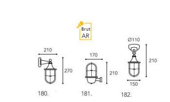 applique Moretti luce laiton brut dimension-180-182
