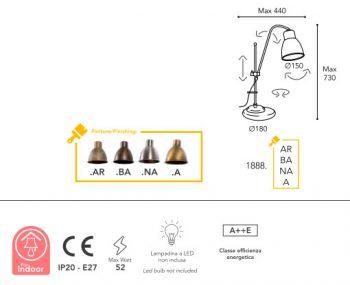 dimension lampe Moretti Luce 18885