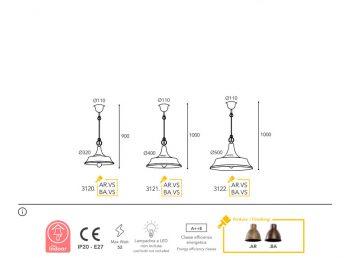 lampe Moretti Luce dimension atelier 3120-3122