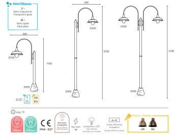 dimension lampe Moretti Luce atelier 3137