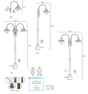 dimension lampe Moretti Luce mill-1730-1733