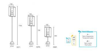 Dimension lampe Moretti Luce 3369-70-71
