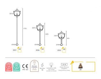 lampe Moretti Luce dimension Betulle 2055-2056-2057