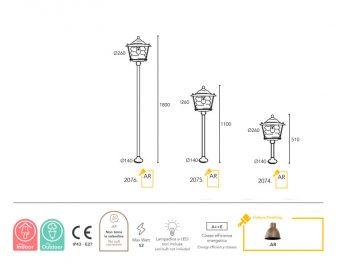 lampe Moretti Luce dimension Onda 2074-2075-2076