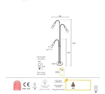 Dimension lampe Moretti Luce lumen-3100-AR