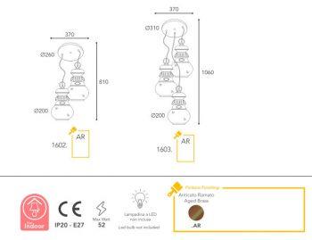 Dimension suspension Moretti Luce 1602-1603-AR